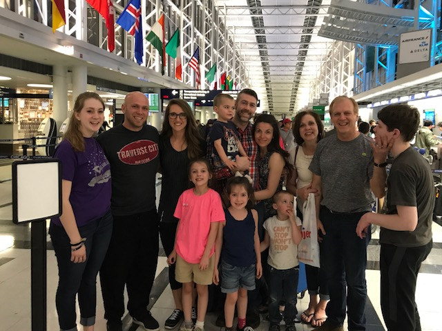Caleb and Lindsey with fam at Ohare